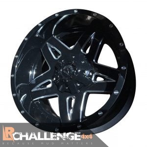 "20"" X 10"" Full Blown Gloss Black Milled Wheels Jeep Wrangler set 5 pieces"