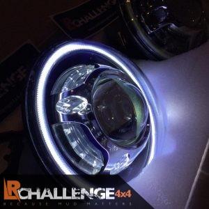 7″ LED Headlights American style to fit Jeep Wrangler JK evil eye headlights blue
