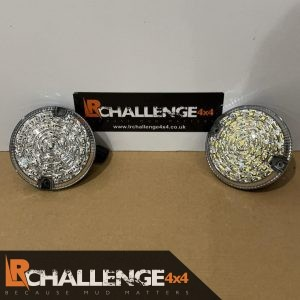 Pair 95mm Clear led rear fog light And Reverse light to fit Defender Motorhome etc