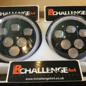 "7"" Black LED Head Lights With DRL Side Light & Indicator to fit Land Rover Defender"