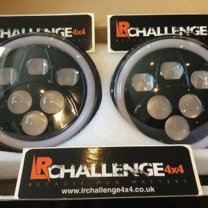 "7"" Black LED Head Lights With DRL Side Light & Indicator to fit Land Rover Defender"