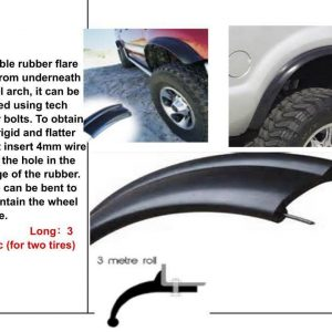 Rubber Flexi Wide Arch 43mm Wide Fender Flares to fit Land Cruiser Nissan Patrol jimny