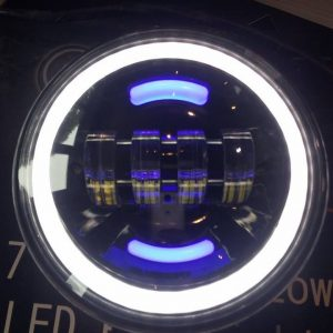 "7"" 60W Black LED DLR Head Lights Halo Ring with Blue inner halo strips"