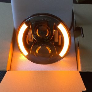 "7"" 60W Black LED DLR Head lights Left & Right Halo"