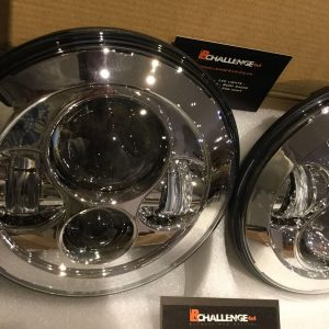 7″ LED Headlights Chrome to fit Land Rover Defender & Jeep Wrangler TJ JK