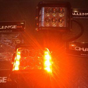 LED 2 Colour OsramWork Lights 12-24v Amber Beacon / White Work Light Pair