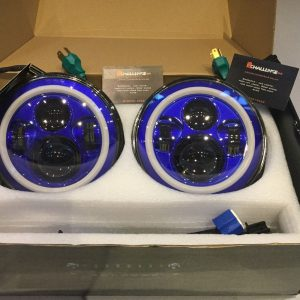 "7"" 60W Blue LED DLR Head Lights Halo Ring"