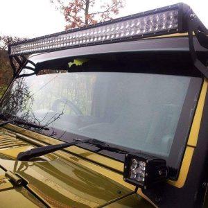 Jeep Wrangler Jk 52'' Led Light Bar Brackets & 300 Watt Monster Complete Set Up