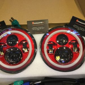 "7"" 60W Red LED DLR Head Lights Halo Ring"