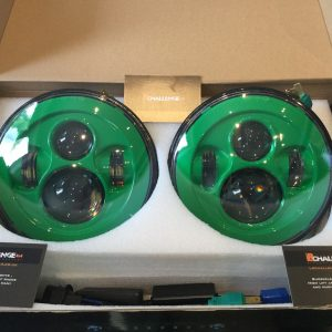 "7"" 60W Green LED DLR Head Lights Halo Ring"