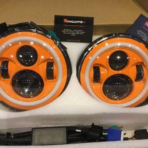 "7"" 60W Orange LED DLR Head Lights Halo Ring"